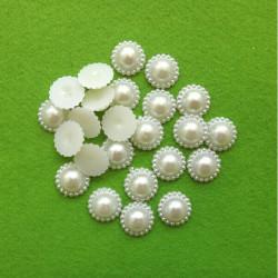 20 Demi Perles Fleur A Coller 10mm Couleur Blanc MC0110080
