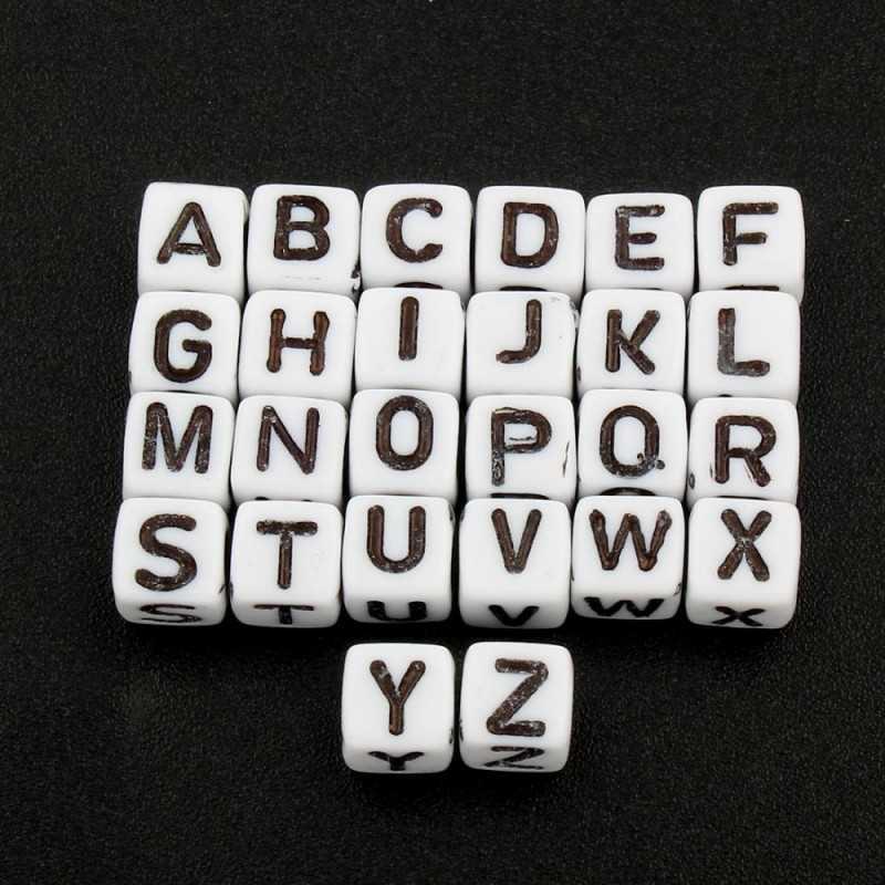 Lot de 100 Perles Alphabet 6mm Lettre au choix