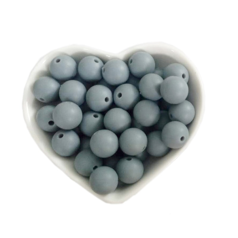10 Perle 9,5mm Silicone Couleur Gris