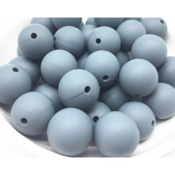 10 Perle 10mm Silicone Couleur Gris MC0110090