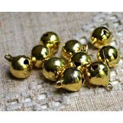 10 Cloche 11mm x 8mm Grelots Metal Doré Clochette Jingle Bell MC0800504