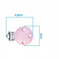Clip Pince Attache Tetine en Bois Rose Clair 3cm MC2030513