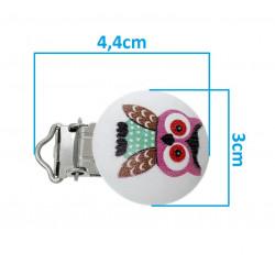 Clip Pince Attache Tetine en Bois Rond Hibou 3cm MC2030524