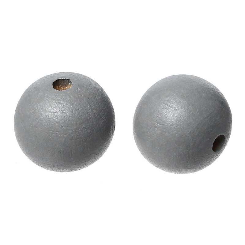 20 Perles en Bois 10mm Gris