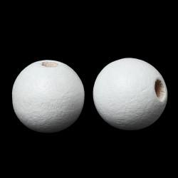 20 Perles en Bois 12mm Blanc MC0112060