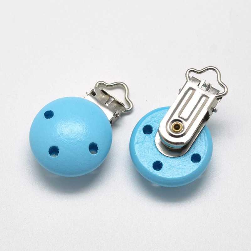 Clip Pince Attache Tetine en Bois Turquoise 3cm
