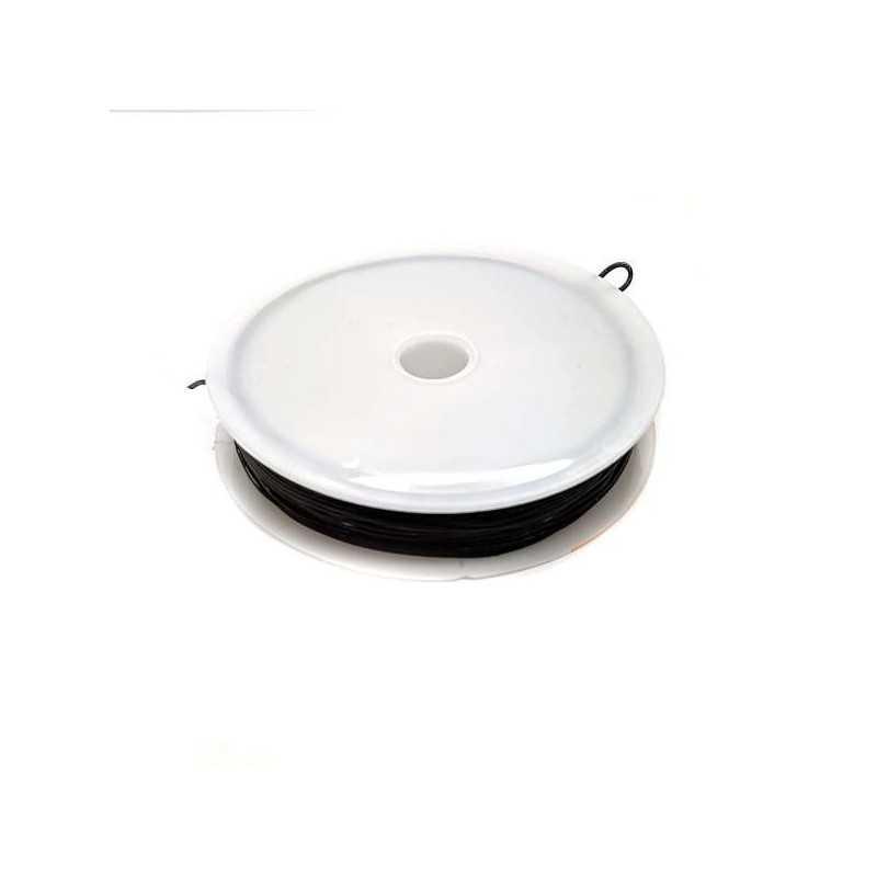 Bobine de Fil Nylon Elastique 0,8mm Noir environ 10m