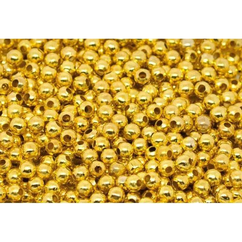 100 Perles en metal Doré 2mm Brillant