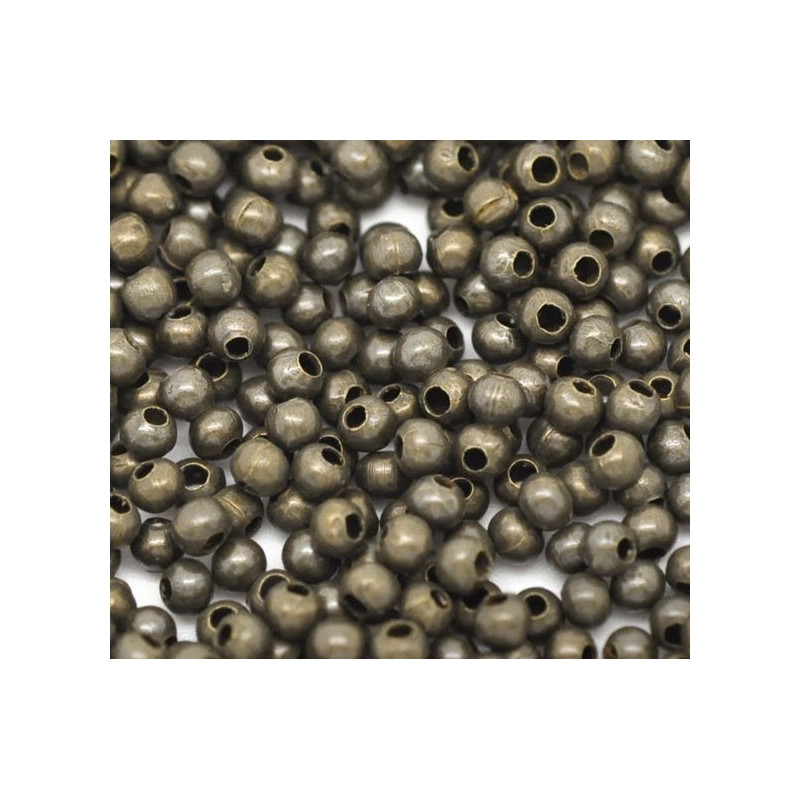 100 Perles en metal Bronze 2mm Brillant