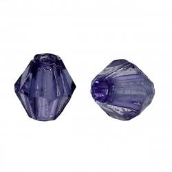 Perles Intercalaires Bicone Toupie Violet Foncé Acrylique 4 x 4mm MC0104029