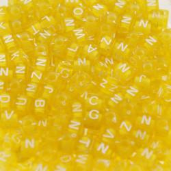 100 Perles Jaune Lettre Alphabet Cube 6mm Aléatoire MC0106129