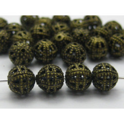 10 Perles 8mm Filigrane Bronze Rond Metal Charms MC0108253A