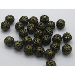 20 Perles 8mm Filigrane Bronze Rond Metal Charms MC0108253B