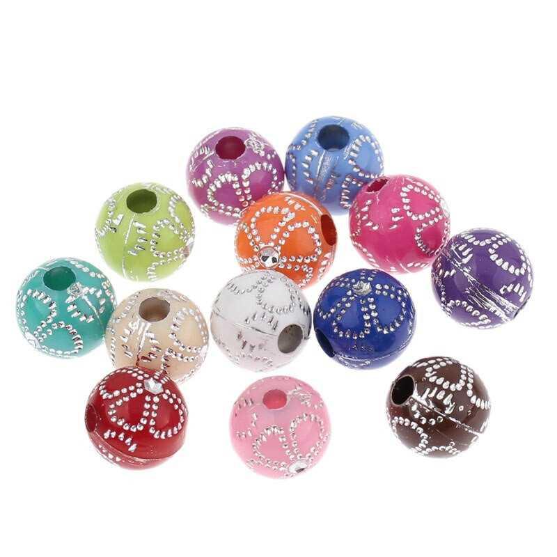 20 Perles en Acrylique Fleur 8mm Couleur Mixte