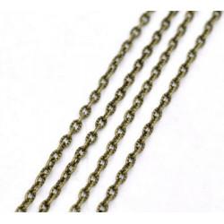 1m Chaine Maille Cheval Texturée Bronze Chainette 4mm x 2,5mm Petit Maillon MC4000006
