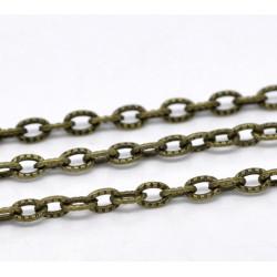 1m Chaine Maille Cheval Texturée Bronze Chainette 4,5mm x 3mm Petit Maillon MC4000008