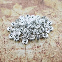 100 Perle Rondelle Strass Intercalaire Argenté 6mm MC0106213C