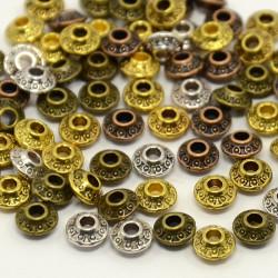 20 Perles en Métal Rondelle Mixte 6,5mm x 3,5mm Tibétain, Bicône MC0106214