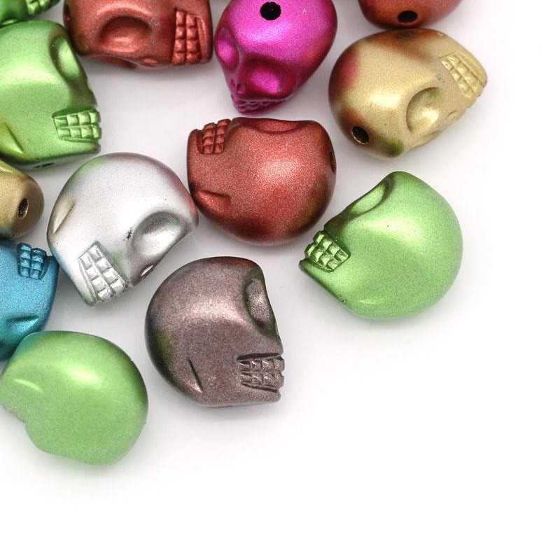 10 Perles Tete de Mort Brillante 13mm x 11mm Couleur Mixte Tete Squelette