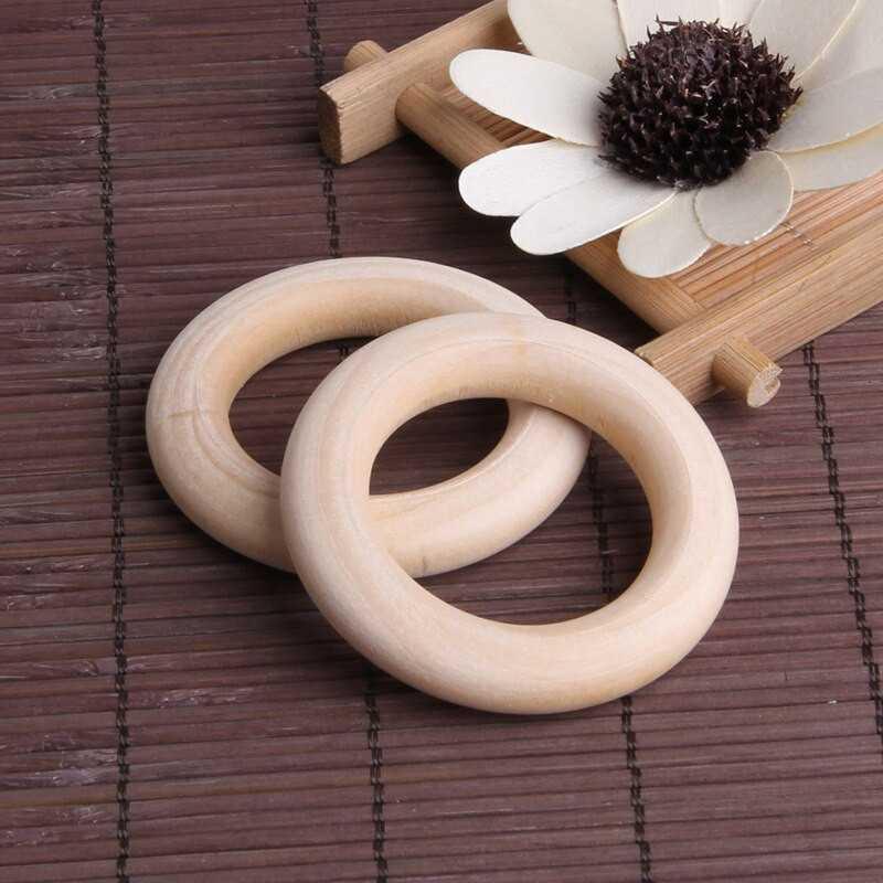 Anneaux Rondelle en Bois 55mm Couleur Naturel Anneau 5,5cm