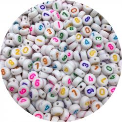 Lot 50 - 100 - 200 Perles Chiffre 7mm Blanc écriture Mixte MC0107146