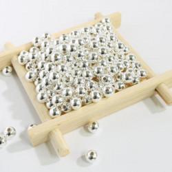 50 Perle Metal 5mm Couleur Argenté Brillant MC0105013