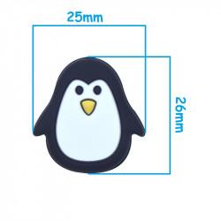 Perle Silicone Pingouin Noir et Blanc 25mm MC1200050