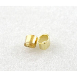 Perle Tube à Ecraser 2mm x 1.5mm Doré