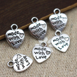 "10 Pendentifs Coeur Argenté "" made with love "" 12mm x 10mm MC1100008"