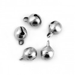 20 Cloche 9mm x 6mm Metal Argente Mat Clochette Jingle Bell Grelots MC0800514