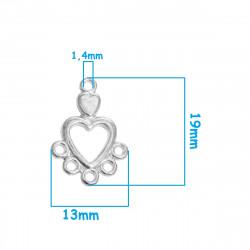 5 ou 10 Connecteur Cœur 6 Trou Argenté 19mm x 13mm MC1100010