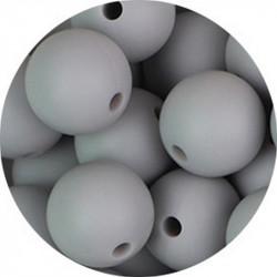 10 Perle Silicone 9mm Couleur Gris Clair MC1200130