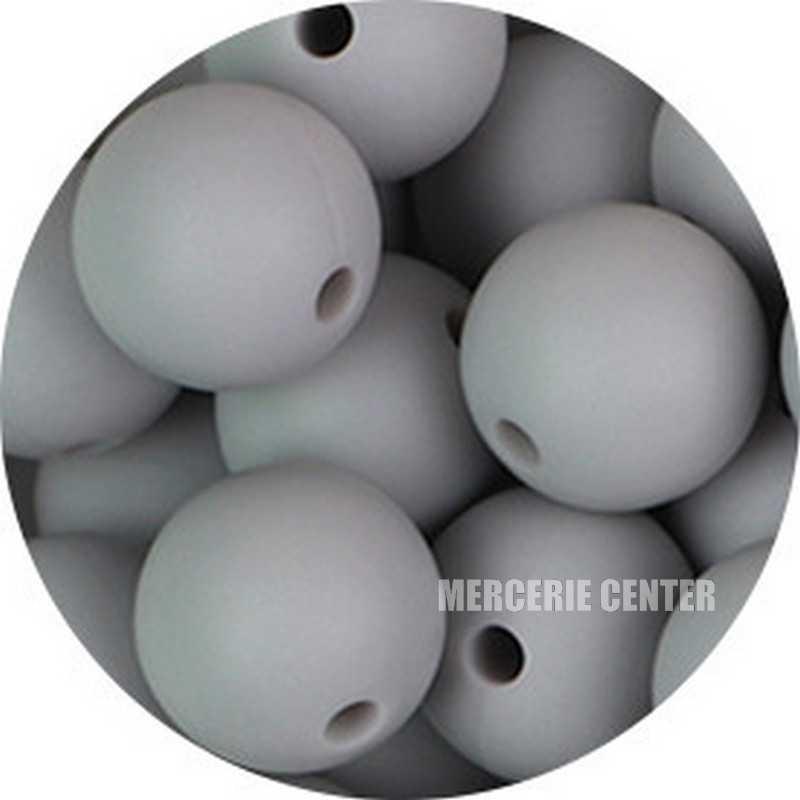10 Perle Silicone 9mm Couleur Gris Clair