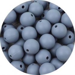 10 Perle Silicone 9mm Couleur Gris MC1200130