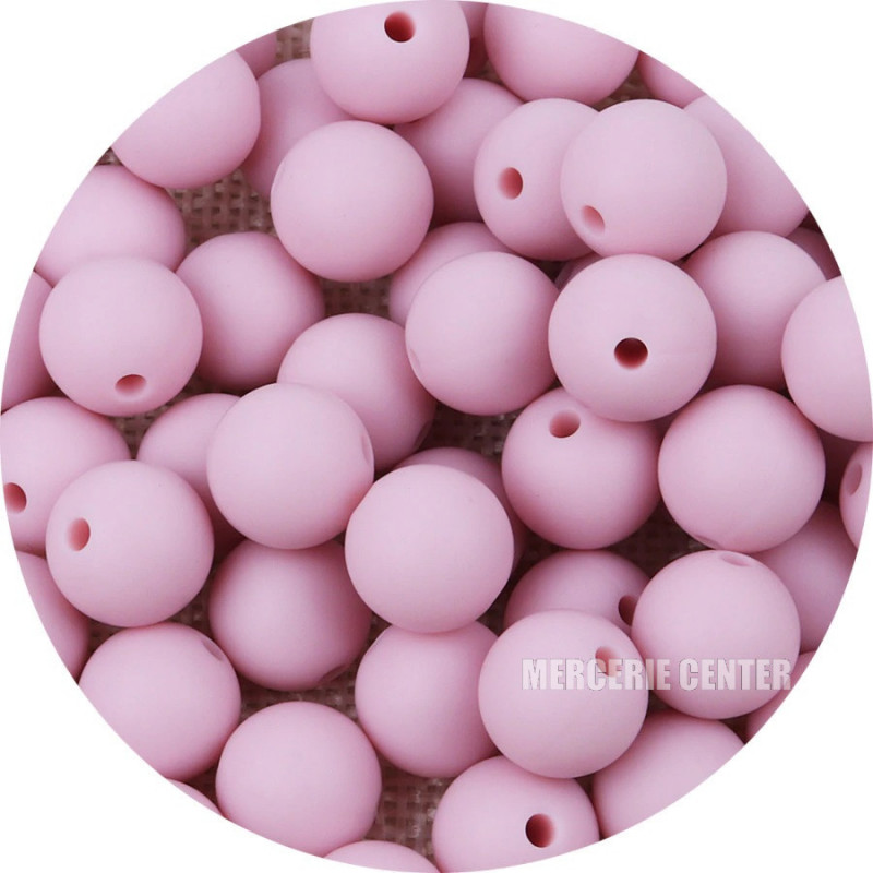10 Perle Silicone 9mm Couleur Rose Clair