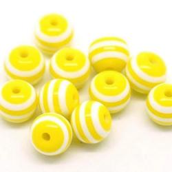 10 Perles 10mm Rayé Jaune et Blanc en resine MC0110091