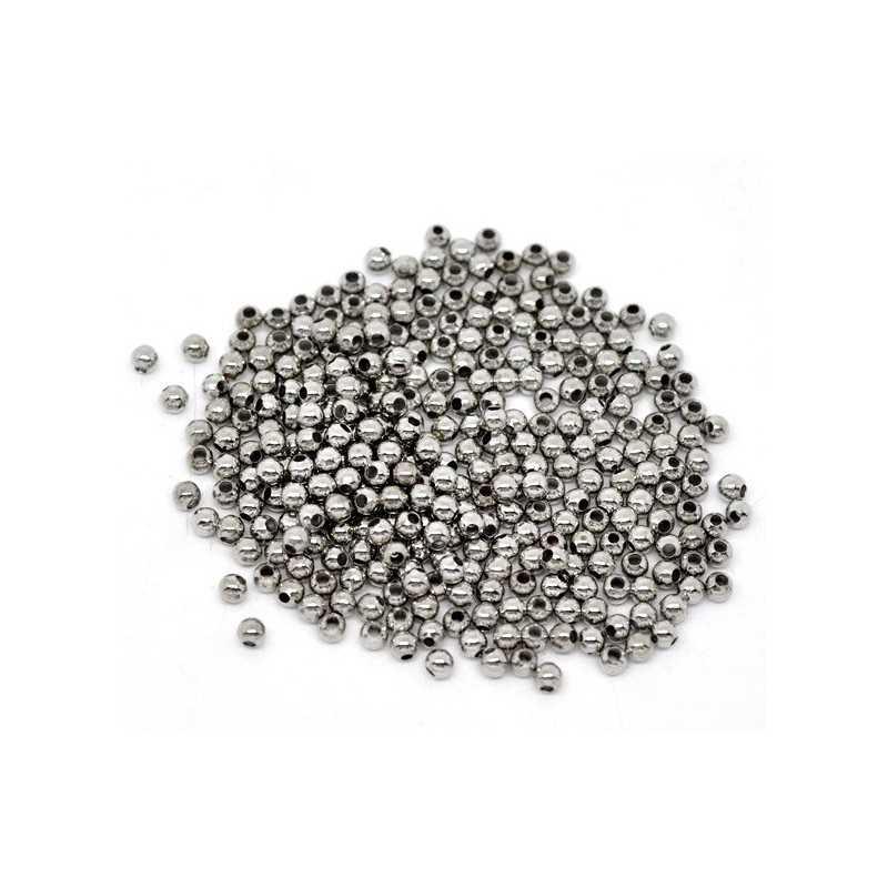 100 Perles en Métal Argente Mat 3mm Brillant