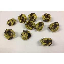 10 roses en ruban marron et doré