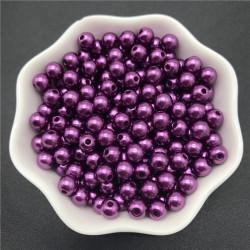 50 Perles 6mm Imitation Brillant Couleur Violet Foncé MC0106045