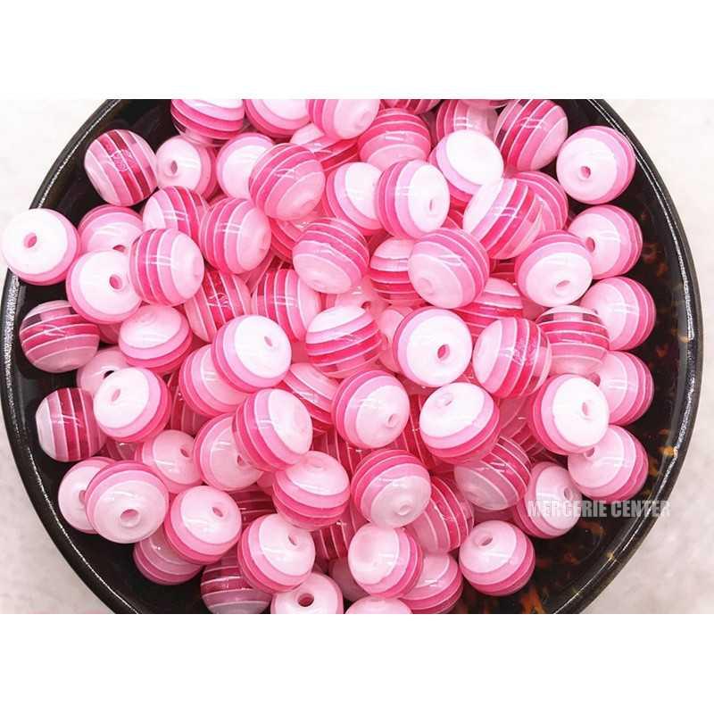 30 Perles en Acrylique Ronde Rayées Opaque 6mm Couleur Rose