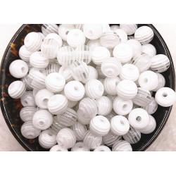 30 Perles en Acrylique Ronde Rayées Opaque 6mm Couleur Blanc MC0106240