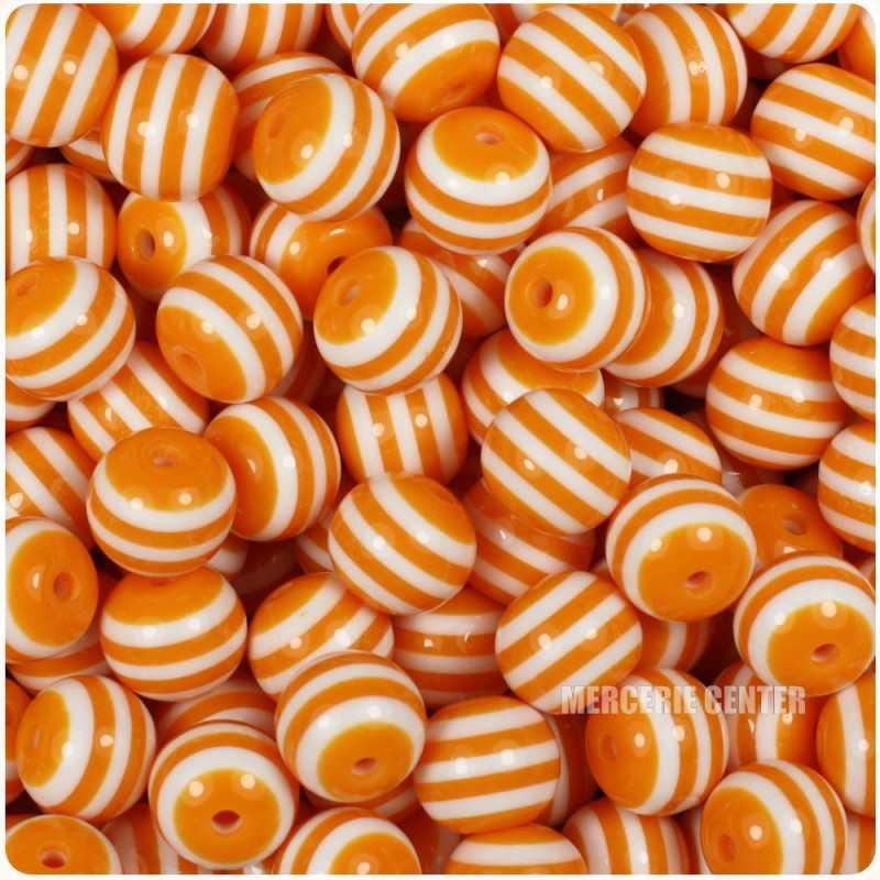 30 Perles en Acrylique Ronde Rayées 6mm Couleur Orange