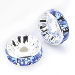20 Perles 10mm Rondelle Couleur Argenté Strass Bleu MC0110351
