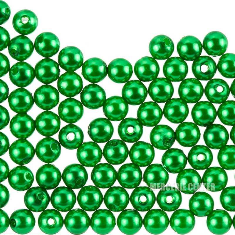 50 Perles 6mm Imitation Brillant Couleur Vert