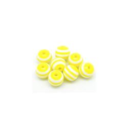 20 Perles en Resine Rayé 8mm Jaune et Blanc MC0108266