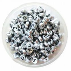 Perle Alphabet Argenté 7mm x 4mm Acrylique Lettre Aleatoire MC0107148