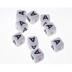 Perle Blanche Acrylique Lettre Alphabet 10mm x 20 pièces