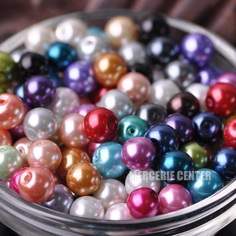 20 Perles imitation en Verre 8mm Couleur Mixte