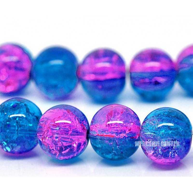 10 Perles en Verre Craquelé Fissuré Violet et Bleu 10mm