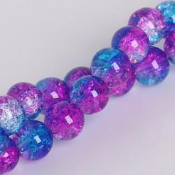 20 Perles en Verre Craquelé Fissuré Violet et Bleu 8mm MC0108213